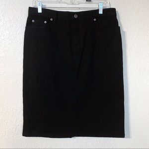Black denim Ralph Lauren knee length pencil skirt